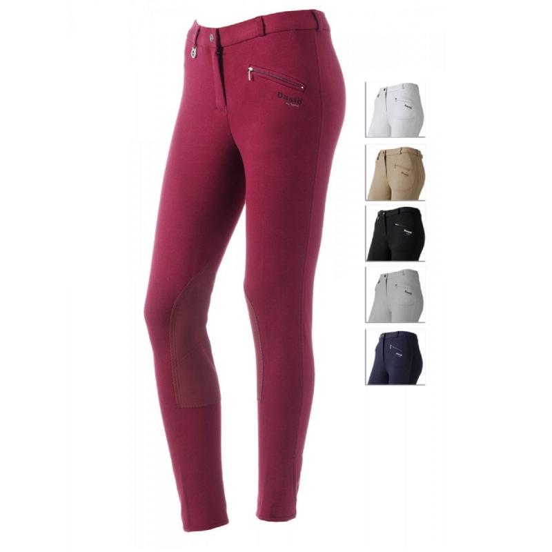 Daslo Pantalone Donna in cotone elasticizzato 360g aderente con toppe colore Bordò
