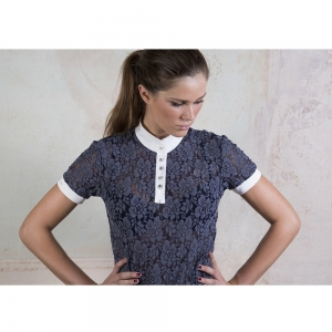 "For Horses shirt with lace and corean neck details "" Luna"""