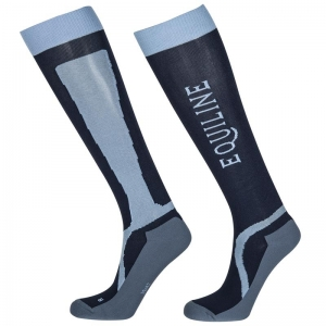 Equiline women technical socks port model blue colored
