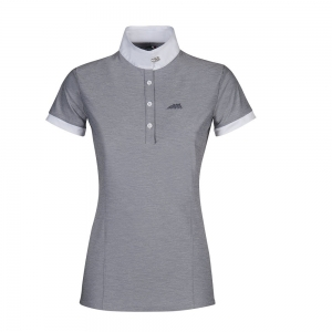 Equiline women contest polo made with cotton  Allie model light grey color
