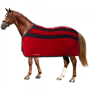 Equiline horse blanket made with pile and grey stripes brianna model