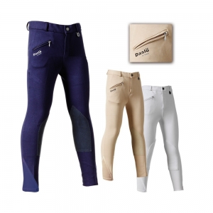 Daslo equitation  kids trousers made by elastic cotton 360g close-fitting with Beige patch