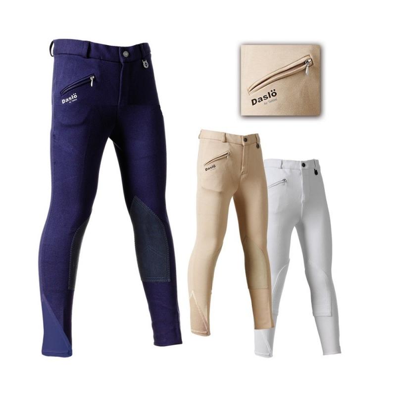 Daslo Pantalone Bambino in cotone elasticizzato 360g aderente con toppe colore Navy