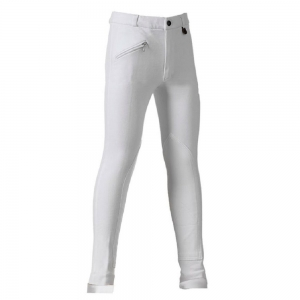 Daslo Jodhpurs equitation kids trousers made with elastic cotton 360g close-fitting with patch white color