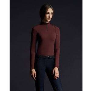 Cavalleria Toscana Woman Termic equitation shirt  bordeaux