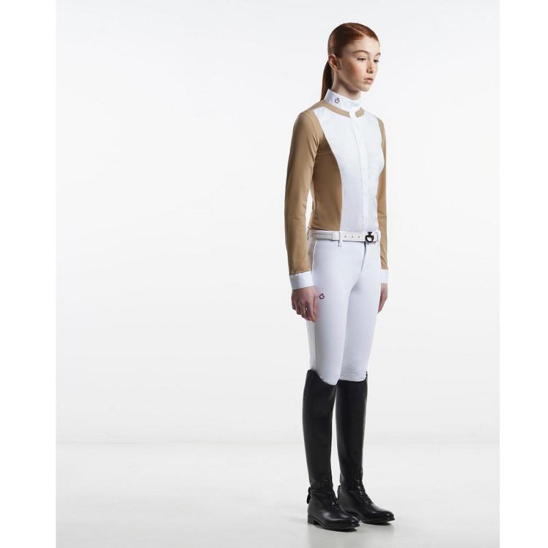 Cavalleria Toscana polo bianca per equitazione da competizione da donna a manica corta
