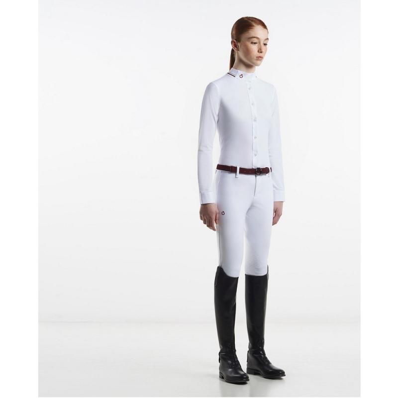 Cavalleria Toscana camicia a manica lunga da competizione da bambina di colore bianco