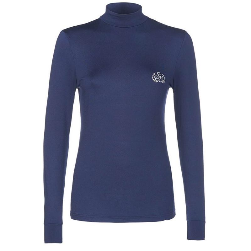 Sarm Hippique maglietta tecnica da equitazione a manica lunga da donna colore blu modello candy