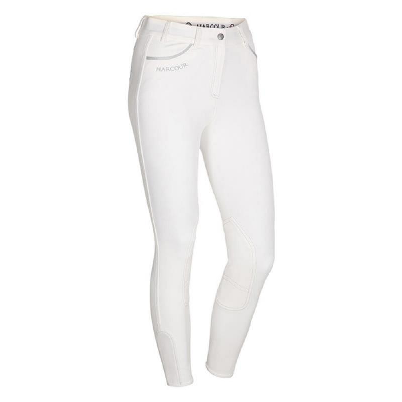 Harcour pantaloni da donna da equitazione colore bianco da competizione con grip