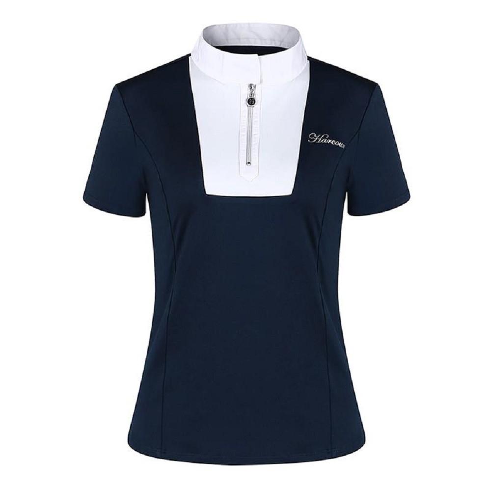best service 8fa75 b2327 Harcour polo da competizione da donna a manica corta per equitazione colore  blu modello Sabrina
