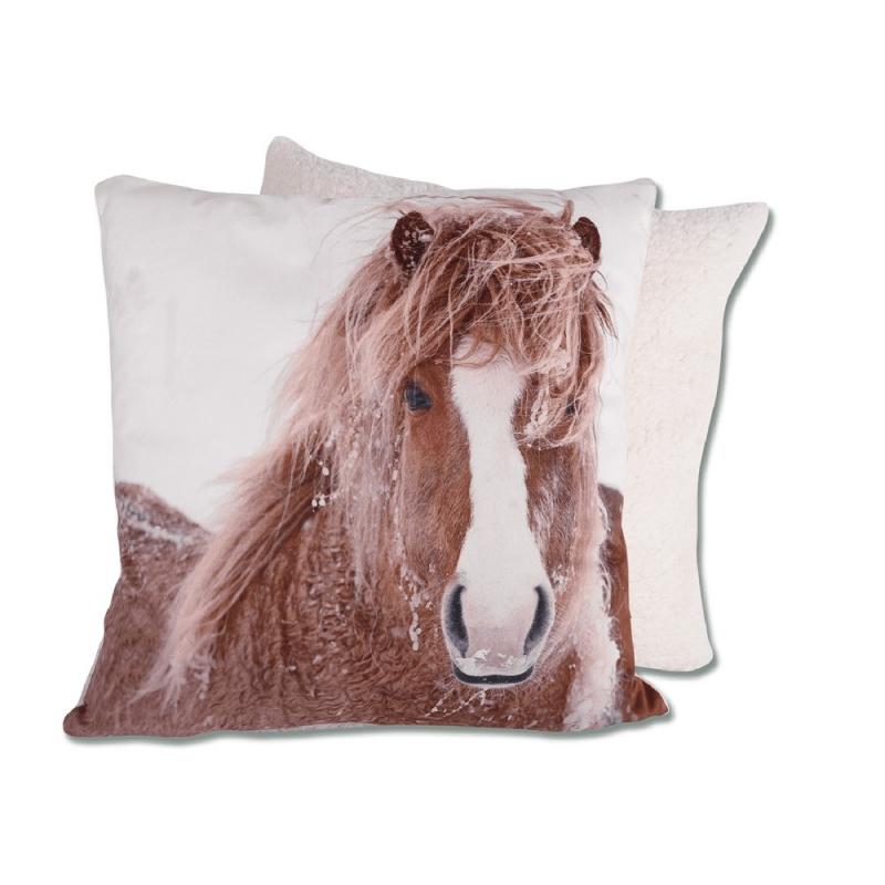 Waldhausen morbido cuscino a tema equitazione con cavallo in primo piano