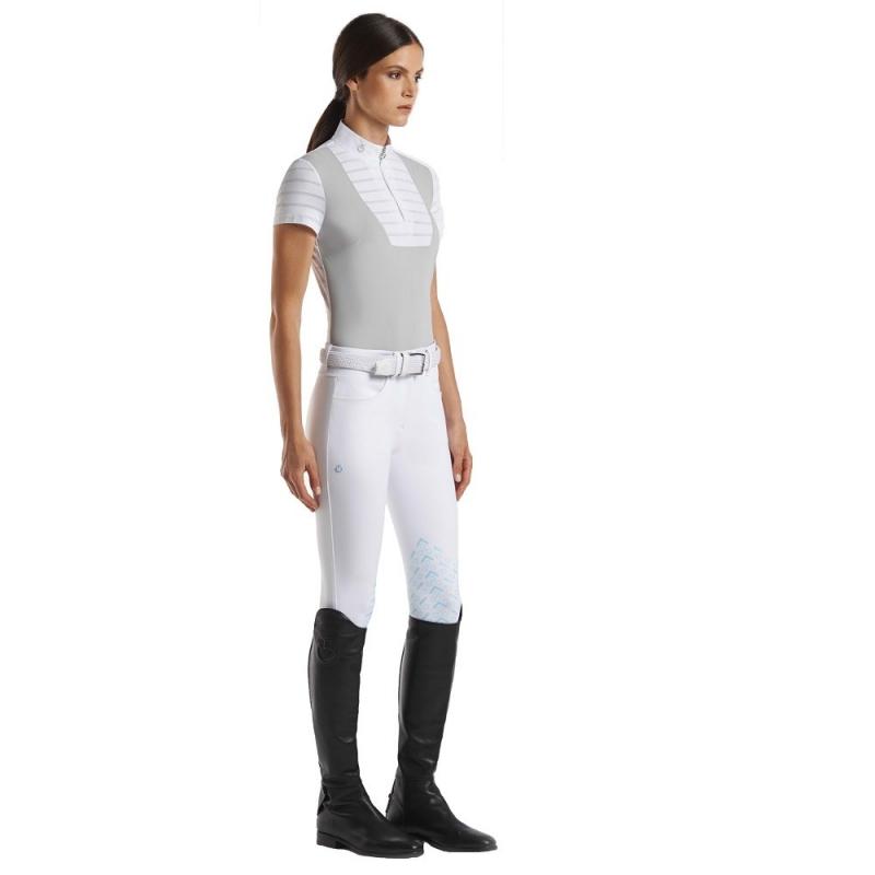 Cavalleria Toscana modello Sheer Stripe  polo da competizione da donna a manica corta e zip