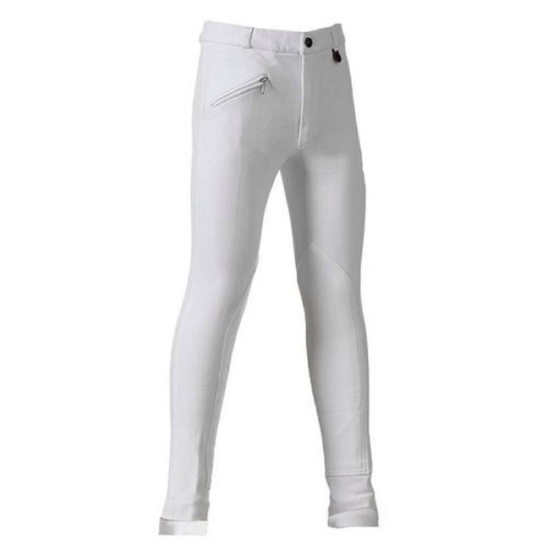 Daslo Pantalone Bambino in cotone elasticizzato 360g aderente con toppe colore Bianco