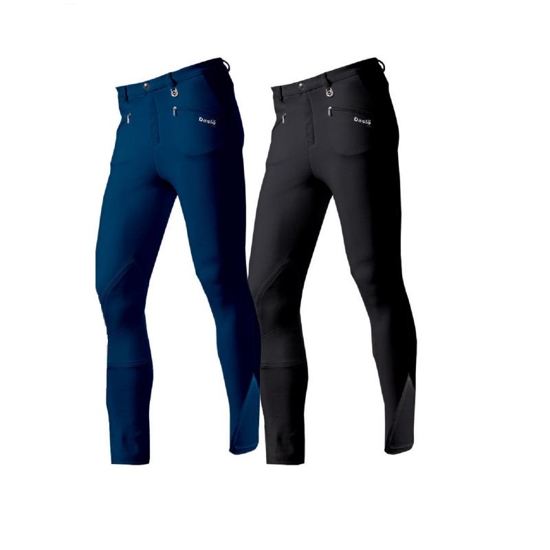Daslo Pantalone Uomo in cotone elasticizzato 360g aderente con toppe colore Navy