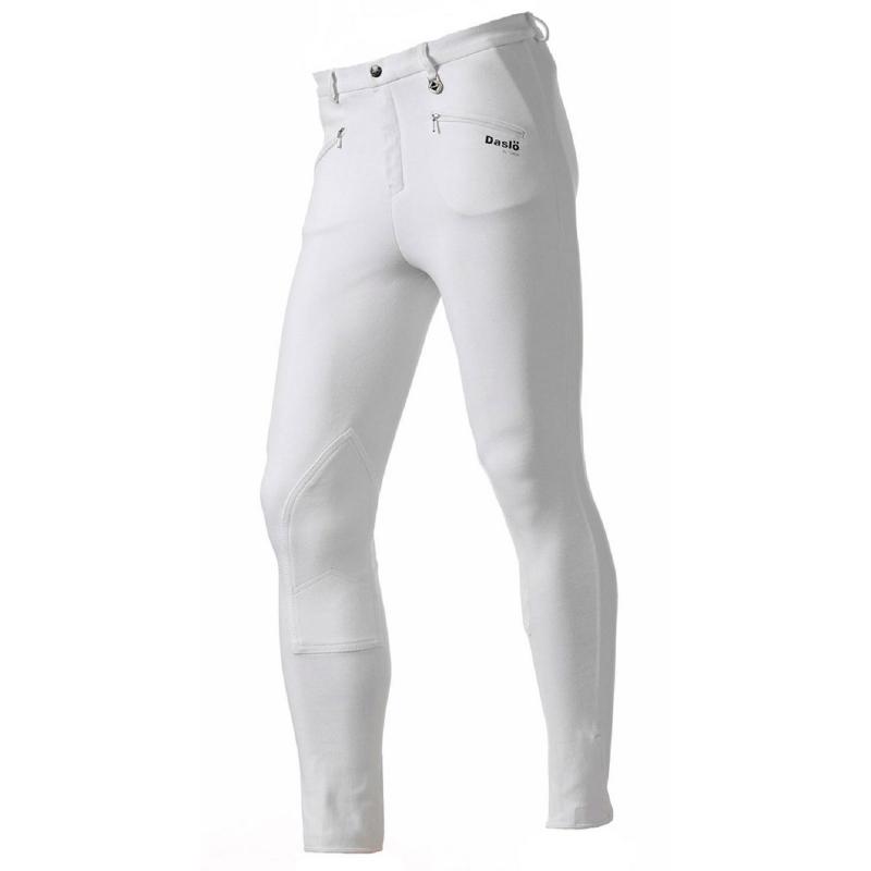 Daslo Pantalone Uomo in cotone elasticizzato 360g aderente con toppe colore Bianco