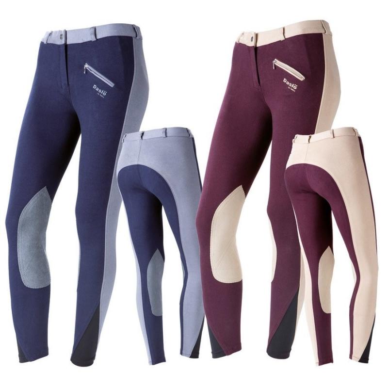 Daslo Pantalone Donna in cotone elasticizzato bicolore 360g con toppe colore Navy Blu/Sky Blu