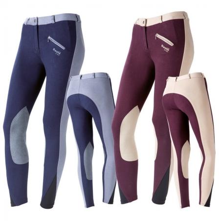 Daslo Pantaloni da equitazione Donna in cotone elasticizzato bicolore 360g