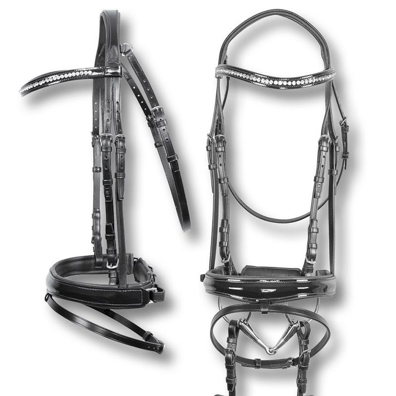Equestro Testiera da equitazione con swarovski completa di redini in gomma modello New Crystal