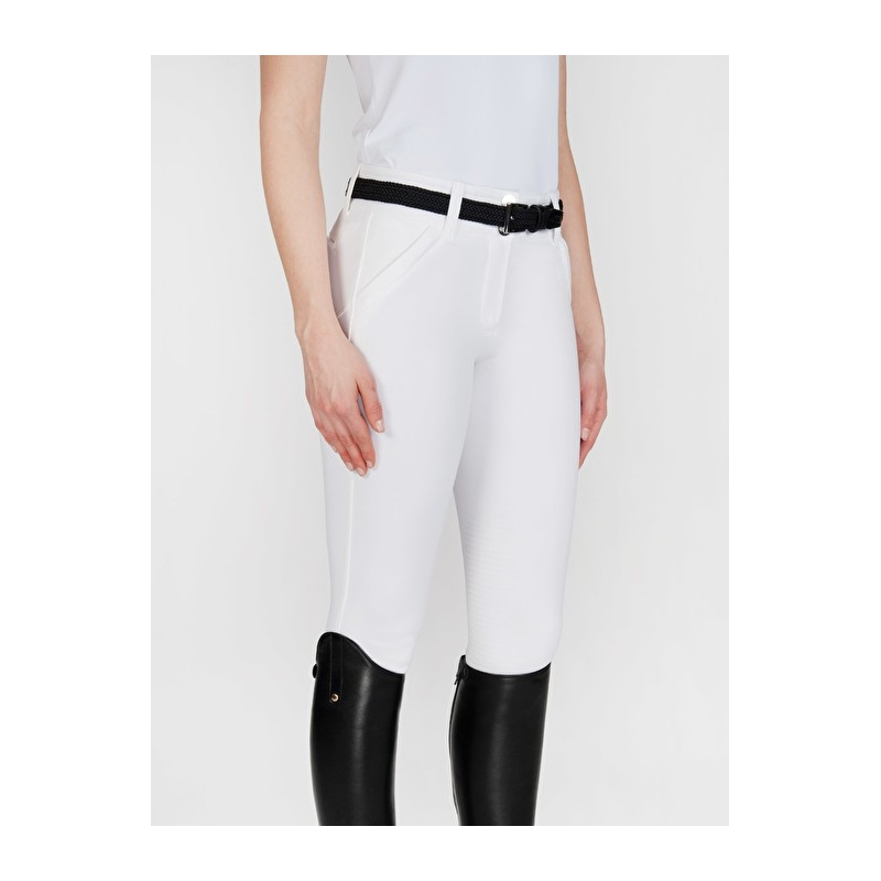 Equiline pantalone da donna modello X Shape con grip da equitazione colore bianco