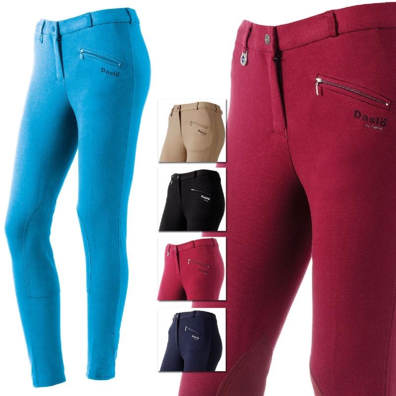 Daslo Pantalone Donna in cotone elasticizzato 360g aderente con toppe colore Blu Navy