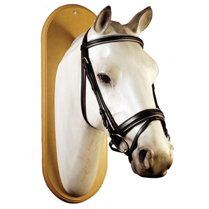 Equestro Testiera in cuoio italiano con frontalino e capezzina nera argento